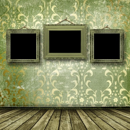 Old gold frames Victorian style on the wall in the room Stock Photo