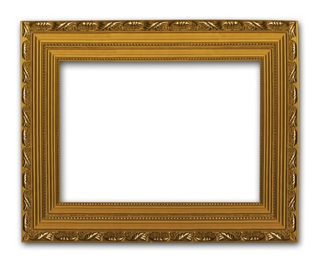 Picture gold frame on the white isolated background Stock Photo - 7026293