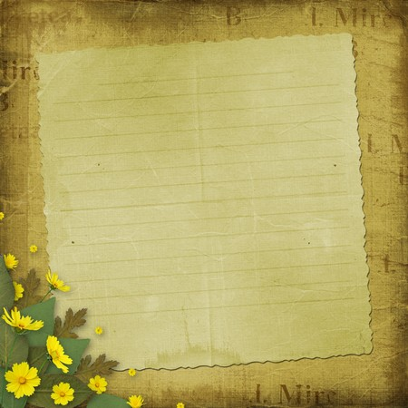 Congratulation to the holiday with paper and yellow flowers Stock Photo - 7026407
