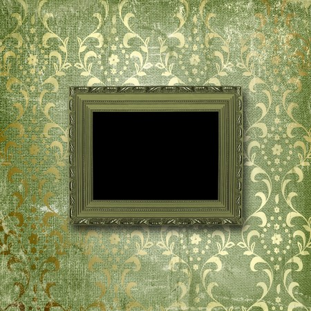 Old gold frames Victorian style on the wall in the room photo