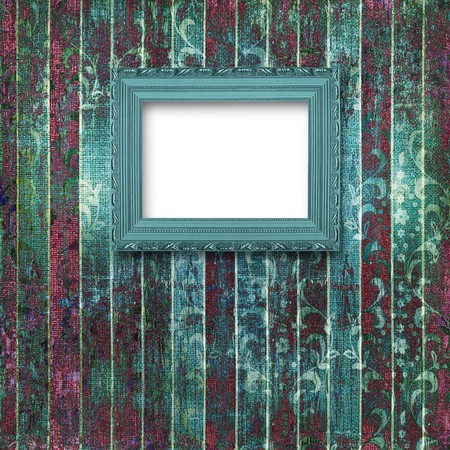 Old turquoise frames Victorian style on the wall in the room Stock Photo - 7026452