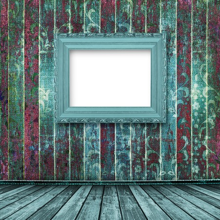 Old turquoise frames Victorian style on the wall in the room Stock Photo - 7026408