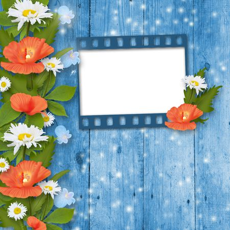 Card for invitation or congratulation with bouquet of flowers photo