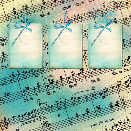 Card for invitation or advertisement with bow on the musical background photo