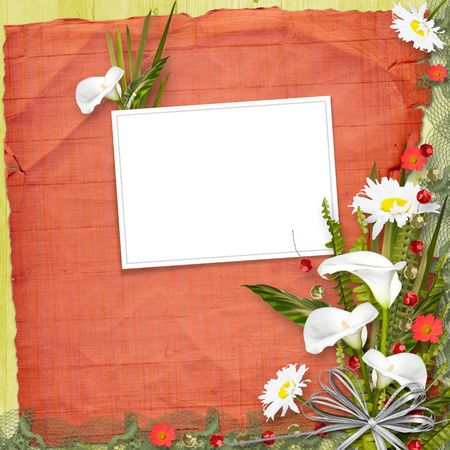 Grunge frame with bunch of flower on the paper background photo