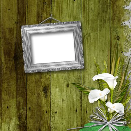 Grunge frame with bunch of flower on the abstract background Stock Photo