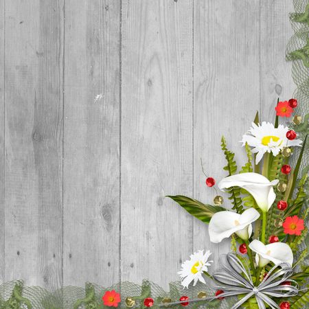 Grunge frame with bunch of flower on the abstract background photo