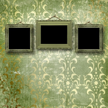 baroque room: Old gold frames Victorian style on the wall in the room Stock Photo