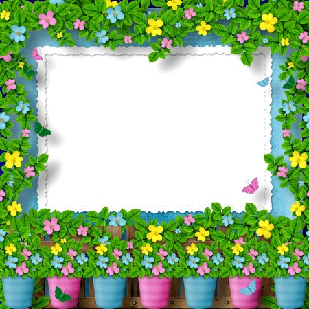 frame for greeting or congratulation with garland of flower photo