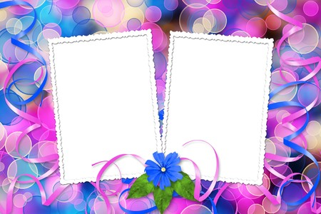Card on the abstract multicolored background with blur bokeh for design photo
