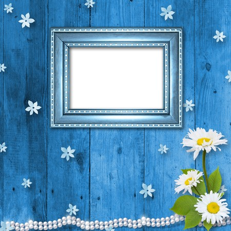 Frame for invitation or congratulation with bouquet of flowers photo