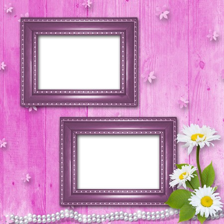baroque pearl: Frame for invitation or congratulation with bouquet of flowers