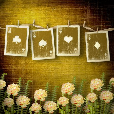 paper pin: Old alienated cards on the wall in the room with flowers Stock Photo
