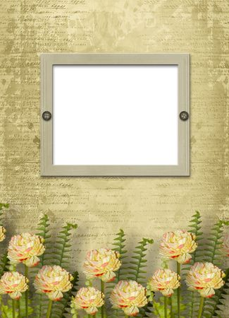 Paper frame on the grunge background with flowers Stock Photo - 7154057