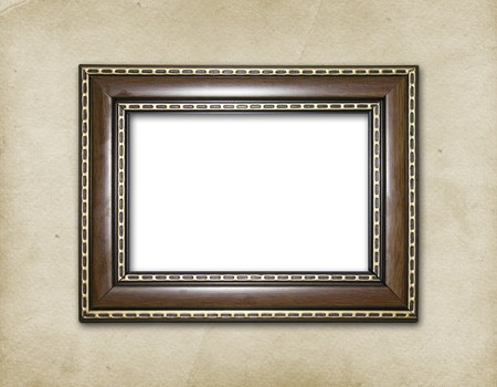 victorian anniversary: Wooden frame on the abstract paper background Stock Photo