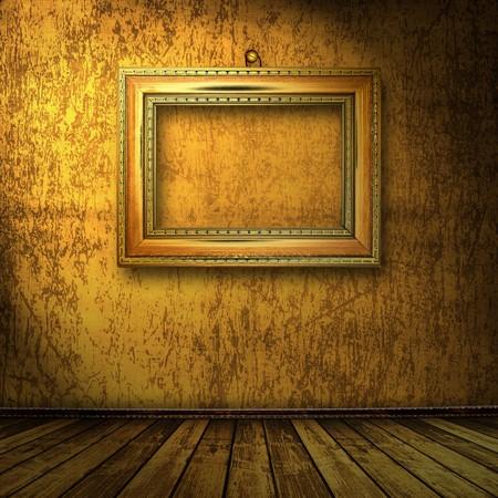 grunge interior: interior de grunge con marco en estilo barroco