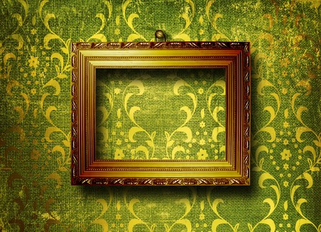 Old gold frame Victorian style on the wall in the room Stock Photo - 7249626