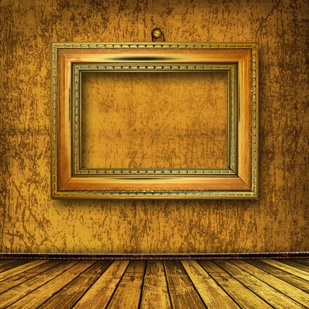 grunge  interior with frame in style baroque Stock Photo - 7303352
