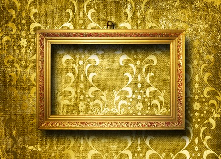 Old gold frame Victorian style on the wall in the room Stock Photo - 7303349