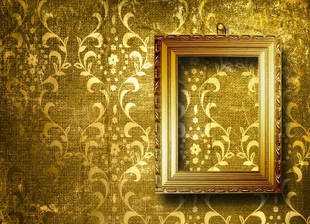 Old gold frame Victorian style on the wall in the room Stock Photo - 7303346