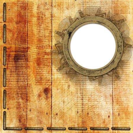 Grunge frames on the ancient wooden background Stock Photo