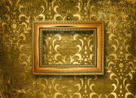Old gold frame Victorian style on the wall in the room