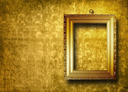 Old gold frame Victorian style on the wall in the room Stock Photo - 7327114