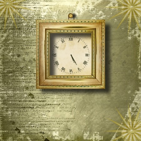 Antique clock face with frame on the abstract background photo