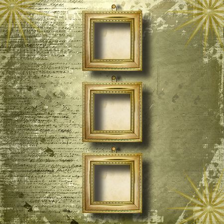 grunge  interior with frame in style baroque photo