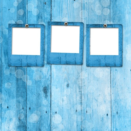 dag: Grunge paper frame on the wooden background Stock Photo