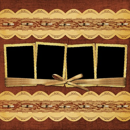 Vintage album with frame and ornate lace photo