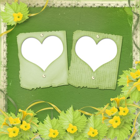 cucurbit: Grunge paper slides with flowers pumpkins and ribbons for design
