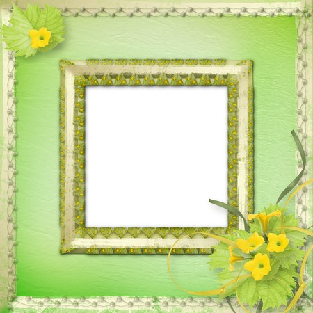 courgette: Grunge wooden frame with flowers pumpkins and ribbons