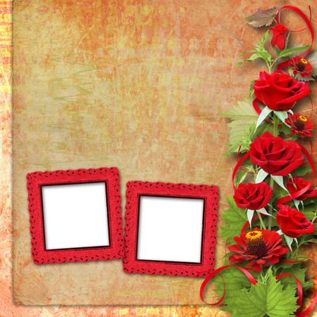 Card for congratulation or invitation with red roses Stock Photo - 7612627