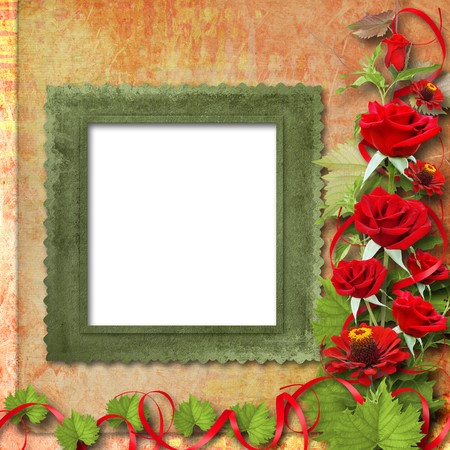 Card for congratulation or invitation with red roses photo