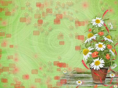 Grunge paper with beautiful bunch of daisy and poppy for design photo