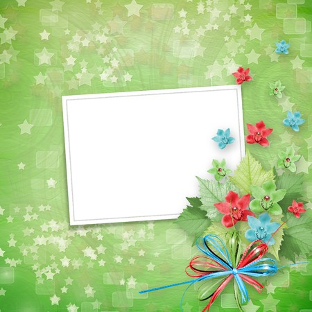 album cover: card for invitation or congratulation with frames and bunch of orchids