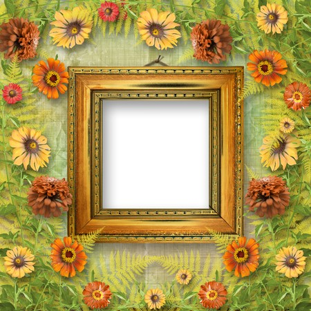 grunge frame for interior with bunch of flowers Stock Photo - 7612672