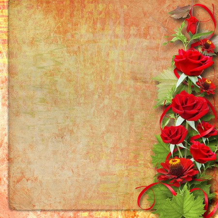 Card for congratulation or invitation with red roses Stock Photo - 7612671