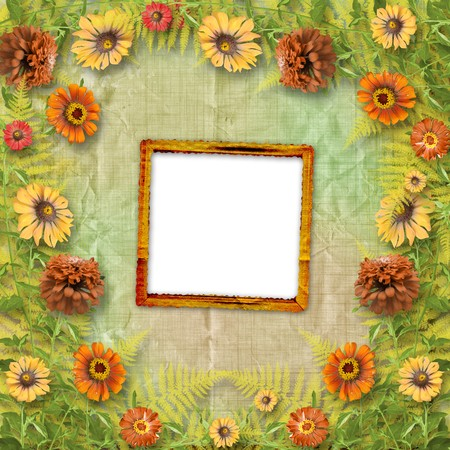 multicoloured card for greetings or invitations with bunch of flowers Stock Photo - 7633873