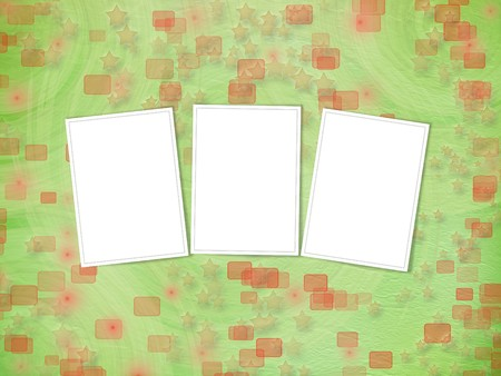 green backdrop with frames for greetings or invitations with stars Stock Photo - 7679209
