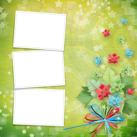 the album announcement: card for invitation or congratulation with frames and bunch of orchids