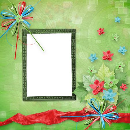 card for invitation or congratulation with bunch of orchids photo
