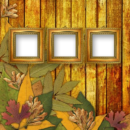 Old grunge frame on the abstract background with autumn leaves Stock Photo - 7679341
