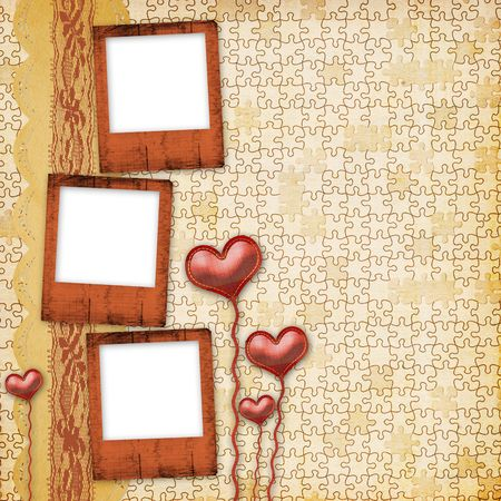 Card for congratulation or invitation with hearts  photo