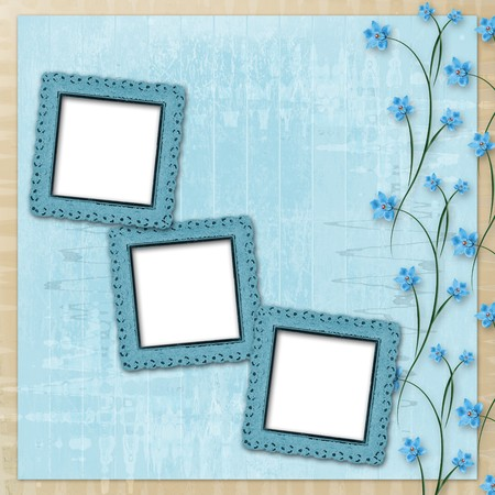 Grunge paper frame with beautiful blue orchids photo