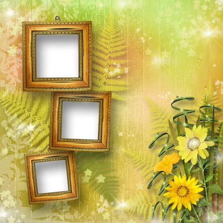 grunge frame for interior with bunch of flowers photo
