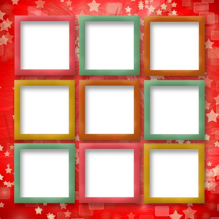 multicoloured backdrop for greetings or invitations with frames and stars Stock Photo