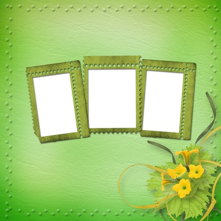 Grunge paper frames with flowers pumpkins and ribbons Stock Photo - 7679398