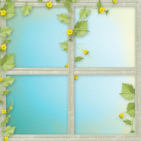 cucurbit: Grunge paper frames with flowers pumpkins and ribbons Stock Photo